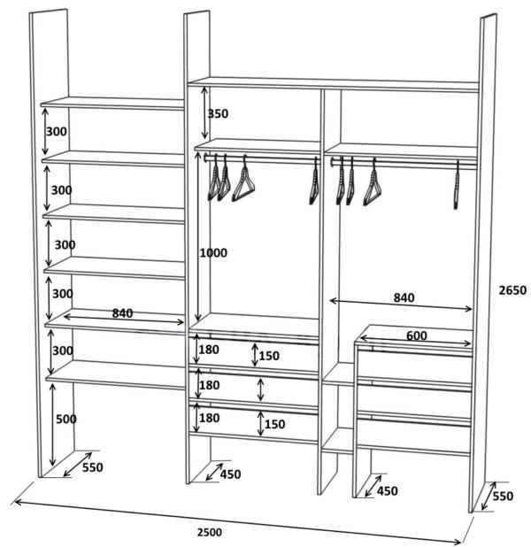 Эскиз встраиваемого шкафа купе от компании Сфера купе
